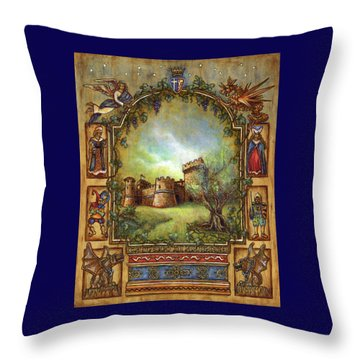 Throw Pillow featuring the painting For The Love Of Castles by Retta Stephenson