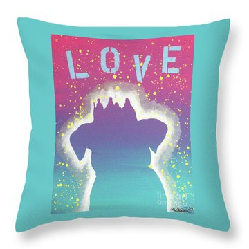 Throw Pillow featuring the painting For The Love Of Pups by Melissa Goodrich