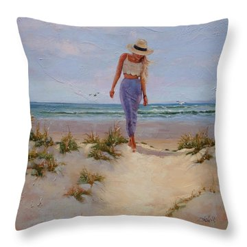 For The Love Of The Sea Throw Pillow by Laura Lee Zanghetti