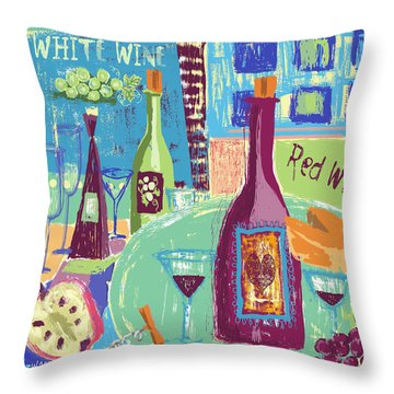 For The Love Of Wine Throw Pillow by Arline Wagner