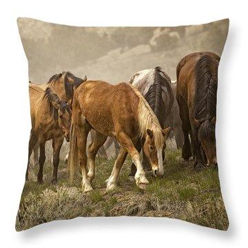 Chestnut Dun Horse Throw Pillows