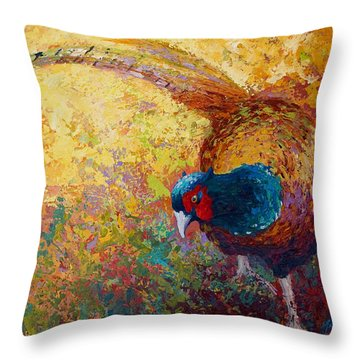 Foraging Pheasant Throw Pillow