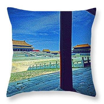 Forbidden City Porch Throw Pillow by Dennis Cox ChinaStock