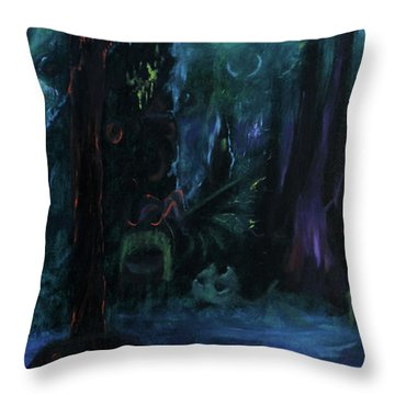 Forbidden Forest Throw Pillow by Christophe Ennis