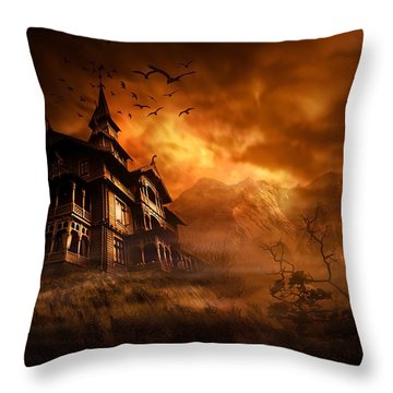 Forbidden Mansion Throw Pillow by Svetlana Sewell