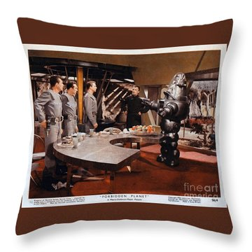 Forbidden Planet Amazing Poster Inside With Scientist Throw Pillow