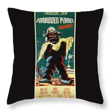 Forbidden Planet In Cinemascope Retro Classic Movie Poster Portraite Throw Pillow