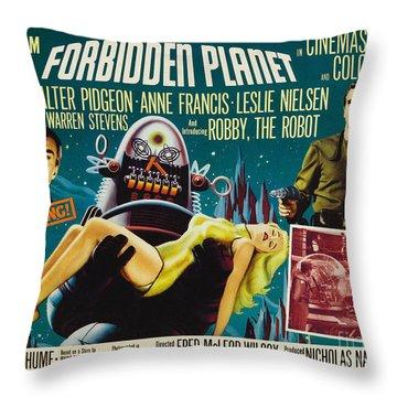 Forbidden Planet In Cinemascope Retro Classic Movie Poster Throw Pillow