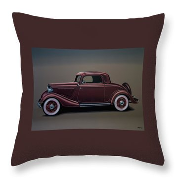 Ford 3 Window Coupe 1933 Painting Throw Pillow