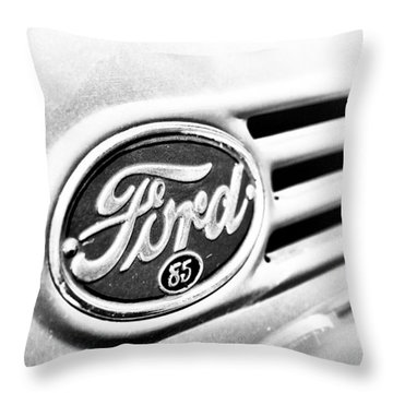 Ford 85 In Black And White Throw Pillow by Caitlyn Grasso