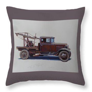 Ford A Type Wrecker. Throw Pillow by Mike  Jeffries