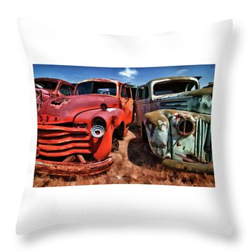 Ford And Chevy Standoff Throw Pillow