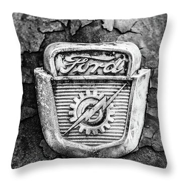 Ford Emblem On A Rusted Hood Verticle Throw Pillow