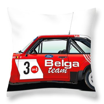Ford Escort Rs Belga Team Illustration Throw Pillow