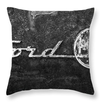 Ford F-100 Emblem On A Rusted Hood Throw Pillow