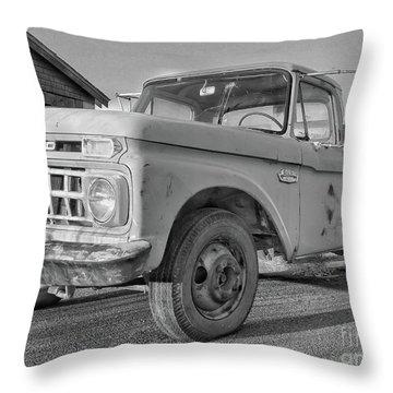 Ford F-150 Dump Truck Bw Throw Pillow