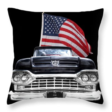 Ford F100 With U.s.flag On Black Throw Pillow