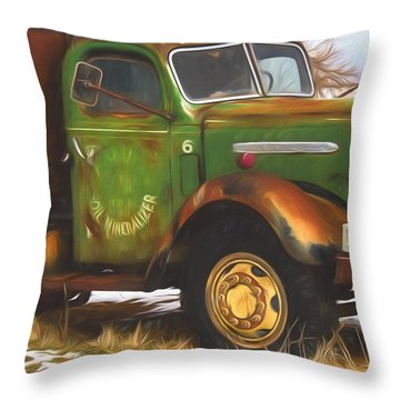 Ford Farm Truck Painterly Impressions Throw Pillow