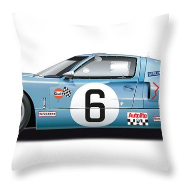 Ford Gt 40 1969 Throw Pillow by Alain Jamar