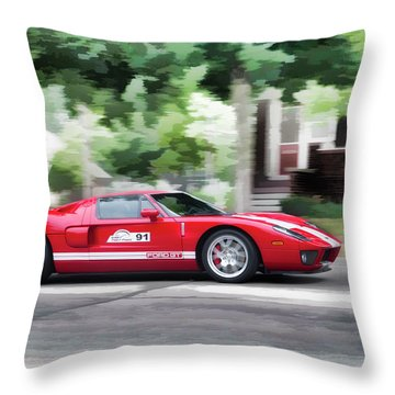 Throw Pillow featuring the photograph Ford Gt Entering Lake Mills by Joel Witmeyer