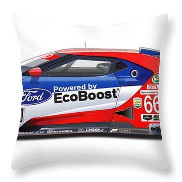 Ford Gt Le Mans Illustration Throw Pillow