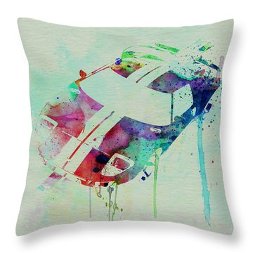 Ford Gt Top Watercolor  Throw Pillow by Naxart Studio