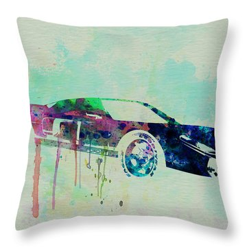 Ford Gt Watercolor 2 Throw Pillow by Naxart Studio