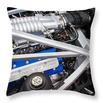 Ford Gt40 Engine Throw Pillow by Roger Mullenhour