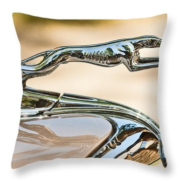 Ford Lincoln Greyhound Hood Ornament Throw Pillow by Jill Reger