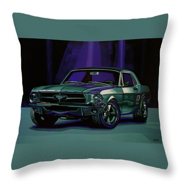 Ford Mustang 1967 Painting Throw Pillow