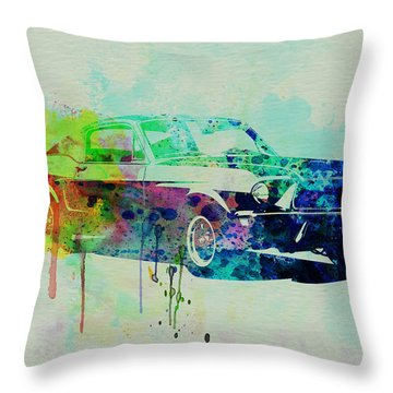 Ford Mustang Watercolor 2 Throw Pillow by Naxart Studio