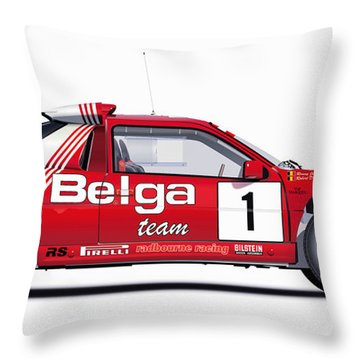 Ford Rs 200 Belga Team Illustration Throw Pillow