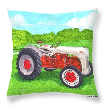 Throw Pillow featuring the painting Ford Tractor 1941 by Jack Pumphrey