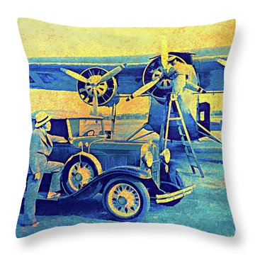 Ford Trimotor And 1931 Model A Roadster Throw Pillow