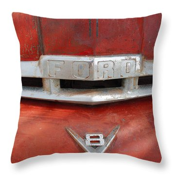 Ford V8 Emblem Throw Pillow