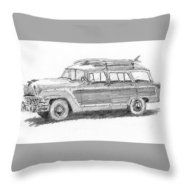 Ford Wagon Sketch Throw Pillow