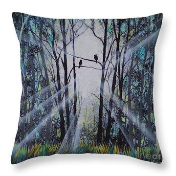 Forest Birds Throw Pillow