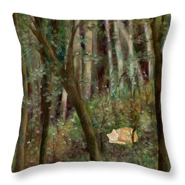 Forest Cat Throw Pillow