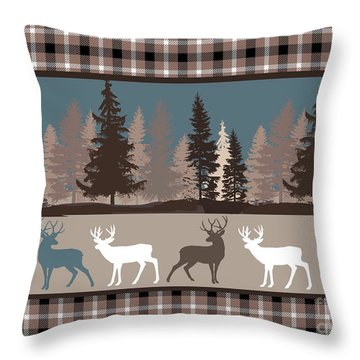Forest Deer Lodge Plaid II Throw Pillow