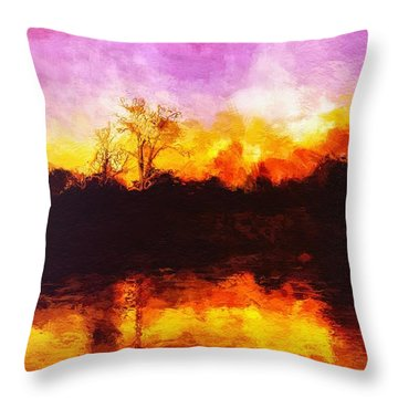 Throw Pillow featuring the painting Forest Fire by Mark Taylor