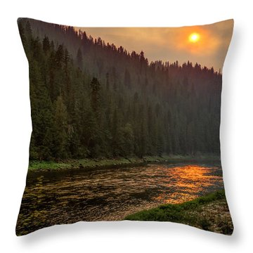 Forest Fire Sunset Throw Pillow