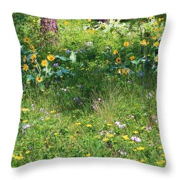 Forest Flowers Landscape Throw Pillow by Carol Groenen