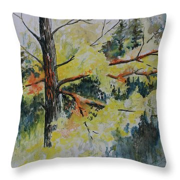 Throw Pillow featuring the painting Forest Giant by Joanne Smoley