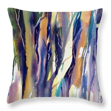 Throw Pillow featuring the painting Forest Glow by Rae Andrews