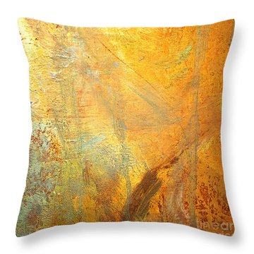 Throw Pillow featuring the mixed media Forest Gold by Michael Rock