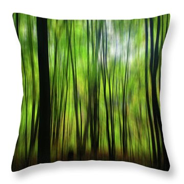 Forest Green Abstract Throw Pillow