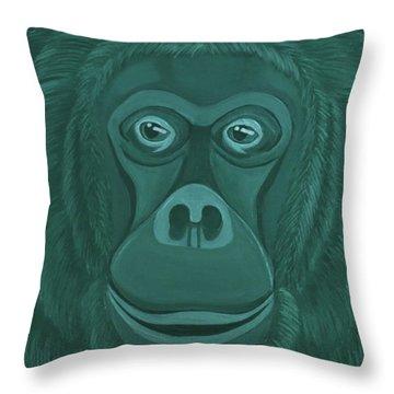 Forest Green Orangutan Throw Pillow