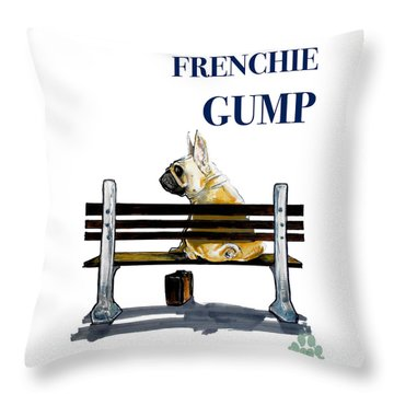 Forest Gump French Bulldog Caricature Art Print Throw Pillow