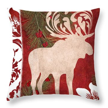 Forest Holiday Christmas Moose Throw Pillow