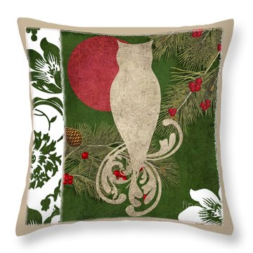 Forest Holiday Christmas Owl Throw Pillow by Mindy Sommers